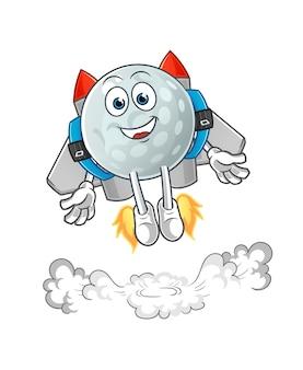 Golfbal met jetpack-mascotte. tekenfilm