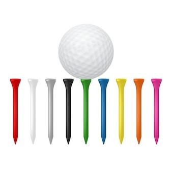 Golfbal met teesillustratie