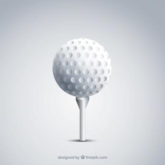 Golfbal op t-stuk in realistische stijl