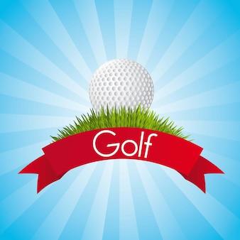 Golfbal over blauwe achtergrond vectorillustratie