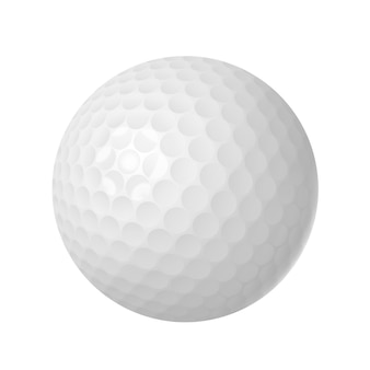 Golfbal over geïsoleerd wit