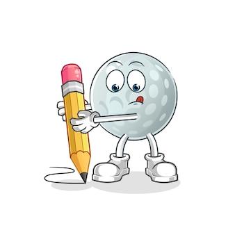 Golfbal schrijven met potloodkarakter. cartoon mascotte