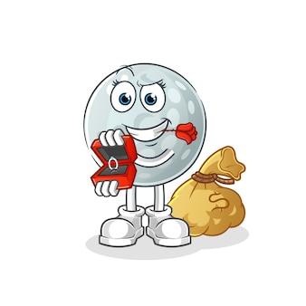 Golfbal stelt voor en houdt het ringkarakter vast. cartoon mascotte