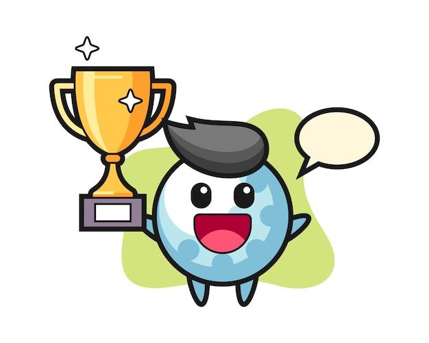 Golfbal stripfiguur blij met de gouden trofee