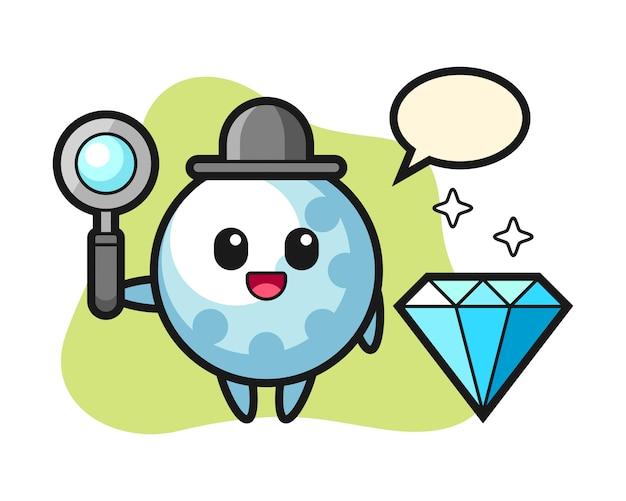 Golfbal stripfiguur met een diamant