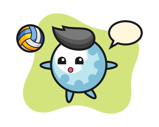 Golfbal stripfiguur speelt volleybal