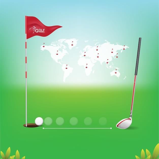Golfbal vectorconcept golftoernooienwereld