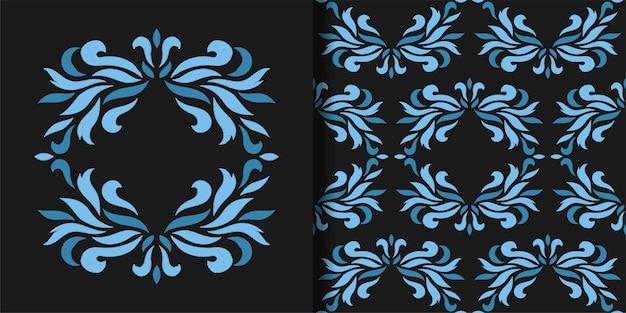 Golfborduurmotief en naadloze patroonset mode waterbehang textiel en t-shirtprint