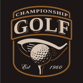 Golfclub en balembleem op donkere achtergrond. alle elementen, tekst staan op de aparte laag.