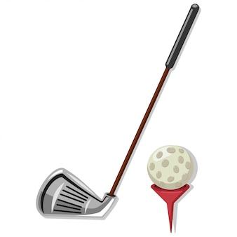 Golfclub en golfbal op rood geïsoleerd t-stukbeeldverhaal