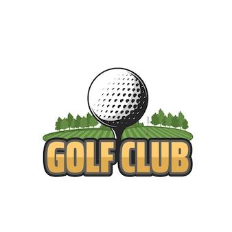 Golfclub vector icoon met veld en bal. golf sport groene cursus met bal op tee, hole en vlag, gras en bomen geïsoleerd embleem ontwerp van sportclub of sportieve competitie toernooi