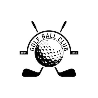 Golfclubembleem, kenteken of pictogram met gekruiste golfclubs en bal op tee. vector illustratie.