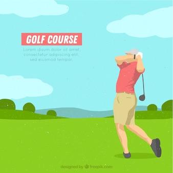 Golfcursus achtergrond in de hand getrokken stijl