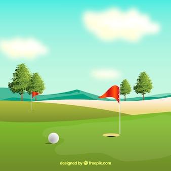 Golfcursus achtergrond in realistische stijl