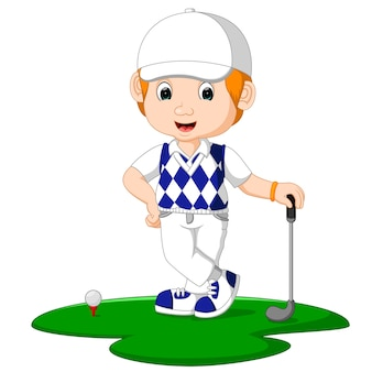 Golfer man cartoon