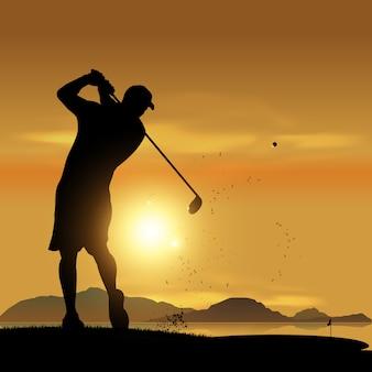 Golfer silhouet bij zonsondergang