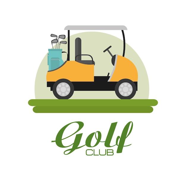 Golfkar met zak met clubs
