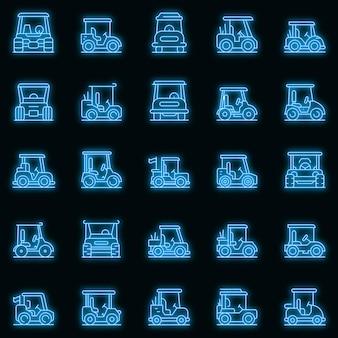 Golfkar pictogrammen instellen. overzicht set van golfkar vector iconen neon kleur op zwart