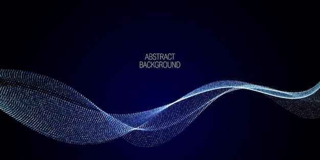 Golfreeks van glanzende stippen. golf van dynamische deeltjes stroomt door de duisternis. gestippelde krommen vector abstracte achtergrond.