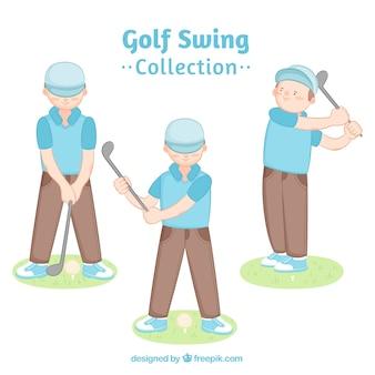 Golfschommelingsinzameling in hand getrokken stijl