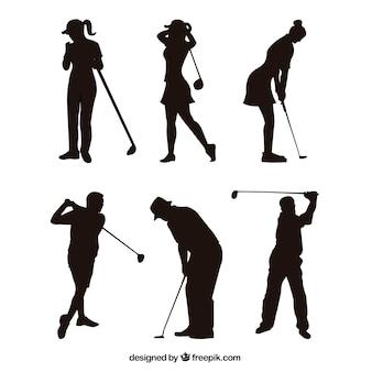 Golfschommelingsinzameling met silhouet