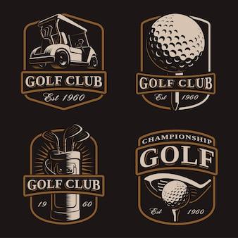 Golfset met vintage logo's, bages, emblemen op donkere achtergrond. tekst staat op de aparte laag.