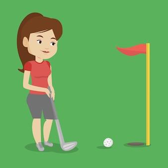 Golfspeler die de bal vectorillustratie raakt.