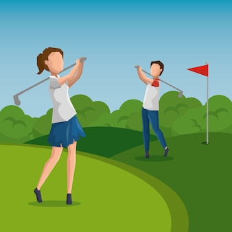 Golfspeler die een schommeling op het gebied doet