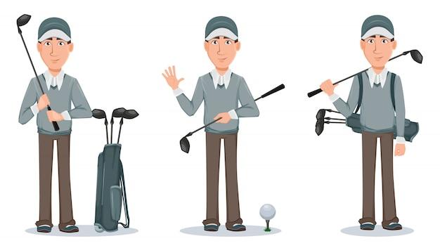 Golfspeler, knappe golfer