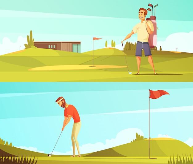 Golfspelers bij cursus 2 horizontale retro beeldverhaalbanners die met rode speldvlag geïsoleerde vectorillu worden geplaatst