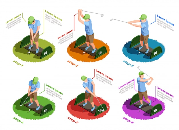 Golfspelers isometrische geïsoleerde pictogrammen