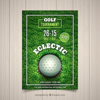 Golftoernooi-flyer in realistische stijl