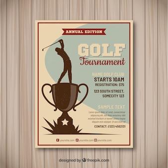 Golftoernooi flyer in vintage stijl