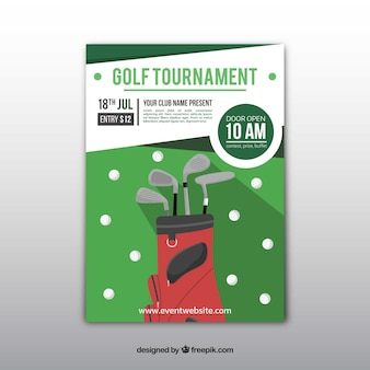 Golftoernooi-flyer in vlakke stijl