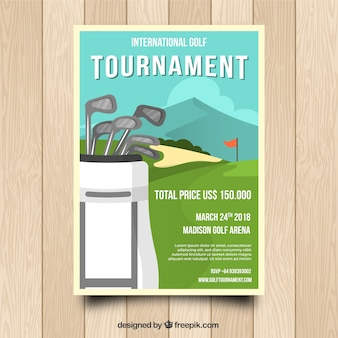 Golftoernooi poster met clubs in zak
