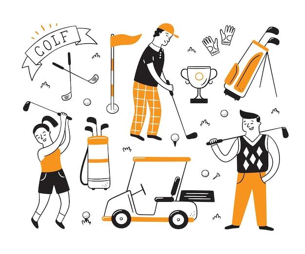 Golfuitrusting en golfers in doodle-stijl.