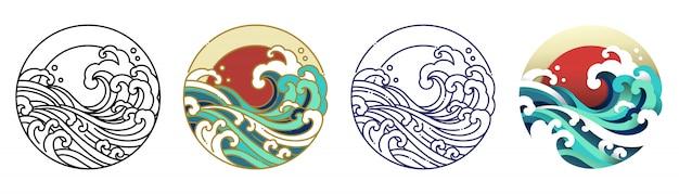 Golfwater en zonkunstillustratie.