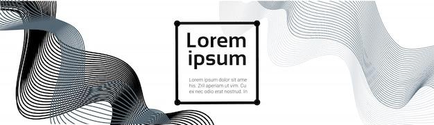 Golven abstracte zwarte lijnen op witte achtergrond soft futuristische smoothe sjabloon horizontale banner met kopie ruimte
