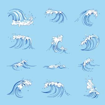 Golven en oceaan of zeewater spatten vector geplaatste schetspictogrammen
