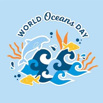 Golven en vissen platte wereld oceanen dag