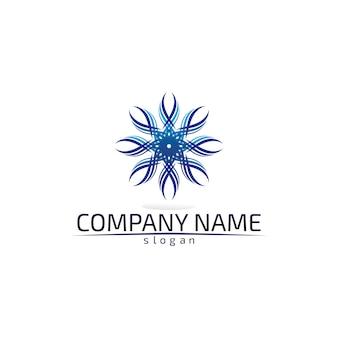 Golven strand blauw water logo sjabloon