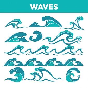 Golven van zeeën en oceanen tijdens storm of tsunami ingesteld
