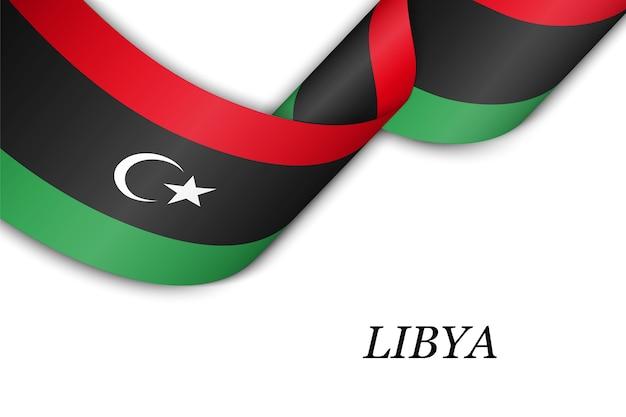 Golvend lint met vlag van libië.