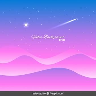 Golvende achtergrond met vallende ster