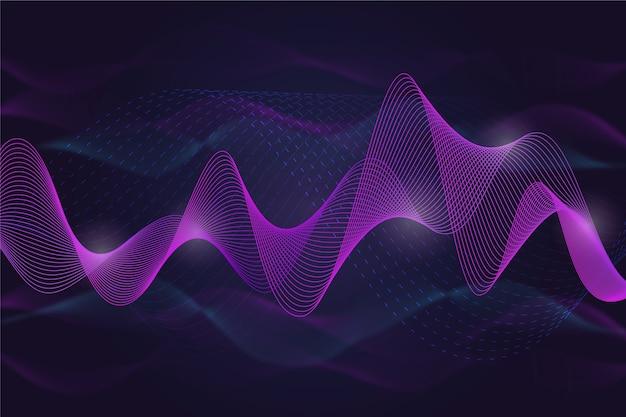 Golvende achtergrond violet en rokerige lijnen