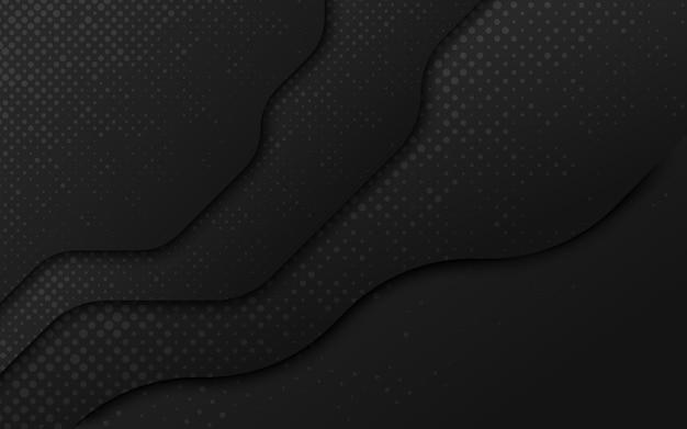 Golvende lagen van zwart papier achtergrond