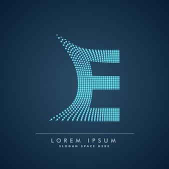 Golvende letter e-logo in abstracte stijl