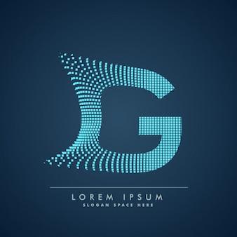 Golvende letter g-logo in abstracte stijl