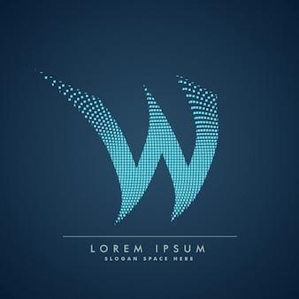 Golvende letter w logo in abstracte stijl