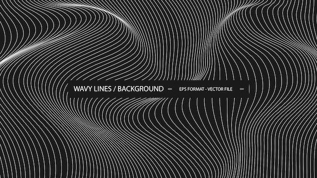 Golvende lijnachtergrond in zwart-wit